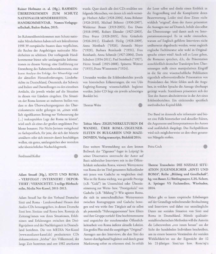 Vorstellung unserer Sinti & Roma-Hörbuch-Trilogie in der Zeitschrift ROMANO CENTRO, Heft Nr. 84, März 2016!