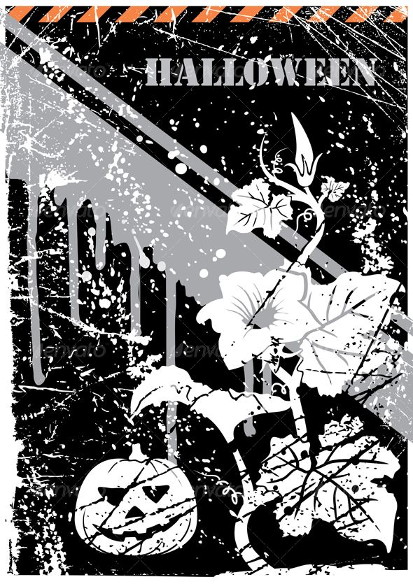 Halloween grunge postcard   Vector graphics design