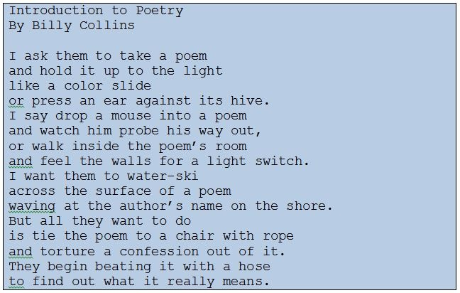 Sonnet by Billy Collins