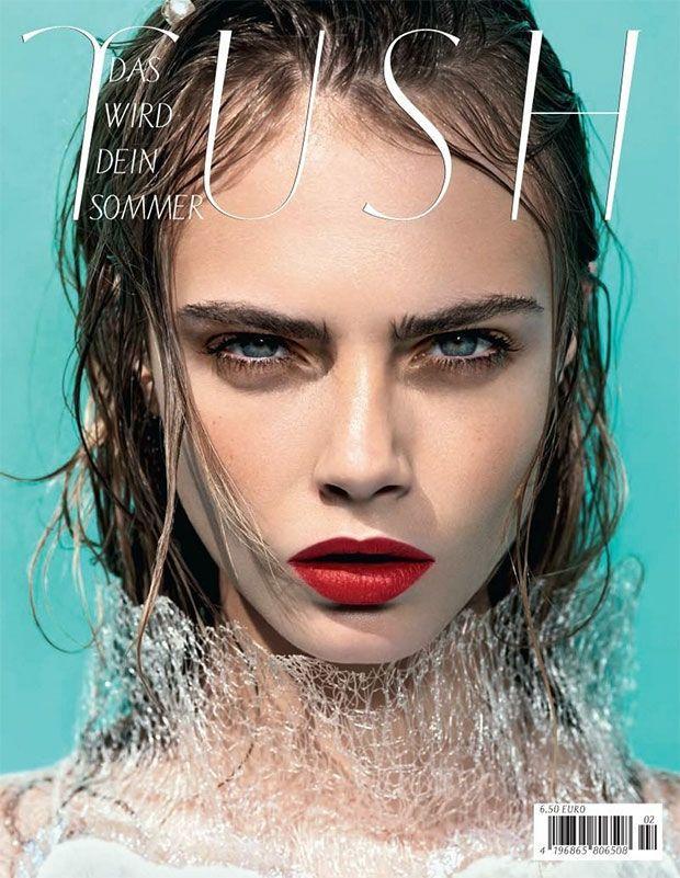 Cara Delevingne Cover Tush: Girls Crushes, Cara Delevign, Wet Hair, Tush Magazines, Hot Lips, Delevingne Face, Red Lips, Magazines Covers, Summer Clothing