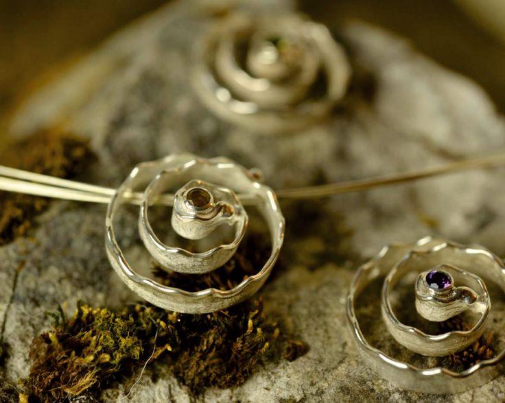 "Ketten ""Spiral of Life"" – Sterling Silber mit Zitrin, Amethyst, Peridot"