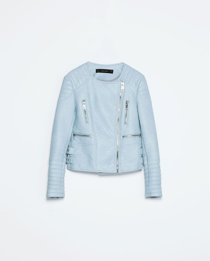 Ignoring the snow and thinking of spring. Pastel-blue faux-leather jacket from Zara; $129