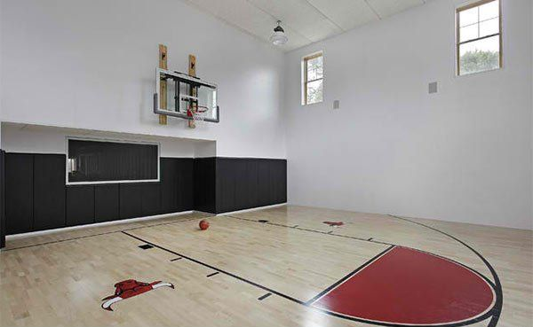 15 Ideas For Indoor Home Basketball Courts Home Design Lover Home Basketball Court Indoor Basketball Court Indoor Sports Court