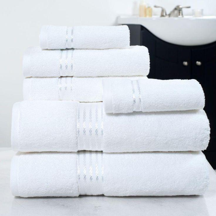 100 egyptian cotton hotel towel set in white 6 piece - White Hotel Ideas
