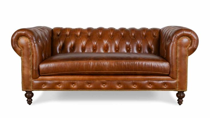 Classic Chesterfield Leather Loveseat 75 x 38 Mont Blanc ...