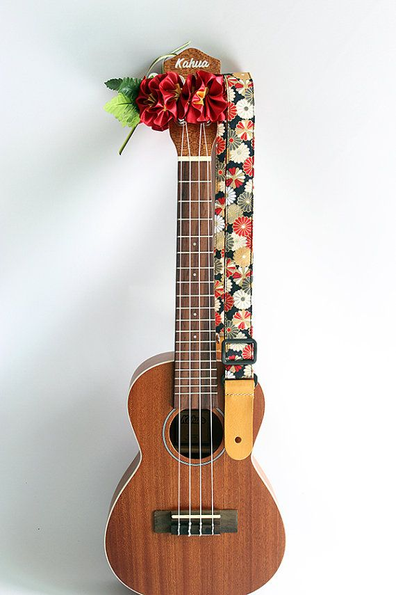Ukulele strap & ribbon lei / kimono black/ ukulele by ukuhappy