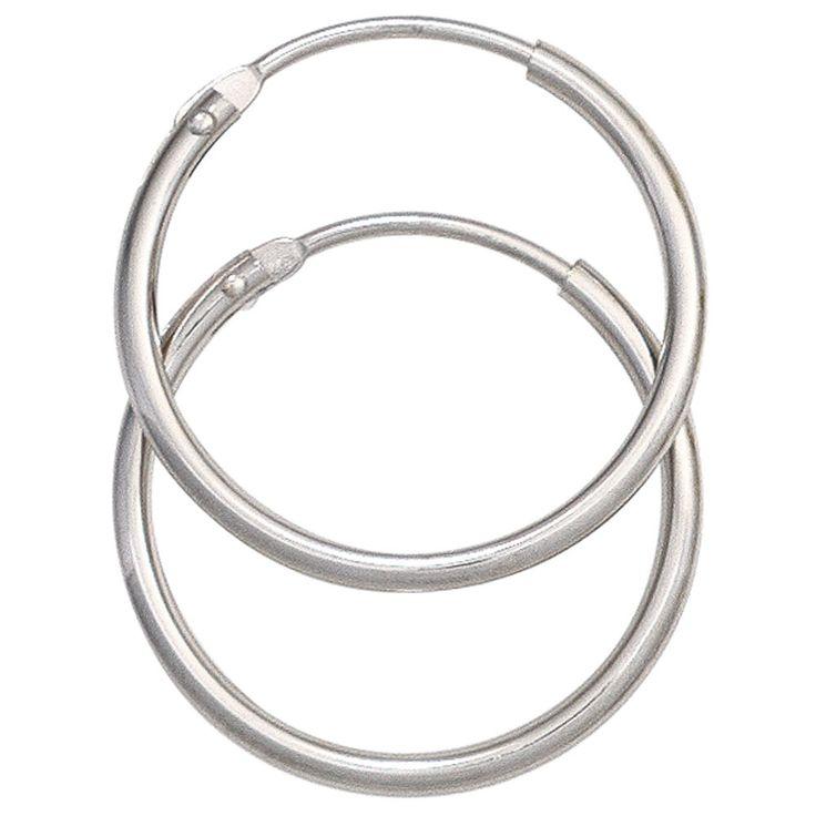 Schlichte Gold-Ohrringe: Creolen aus Gold 585 Weißgold