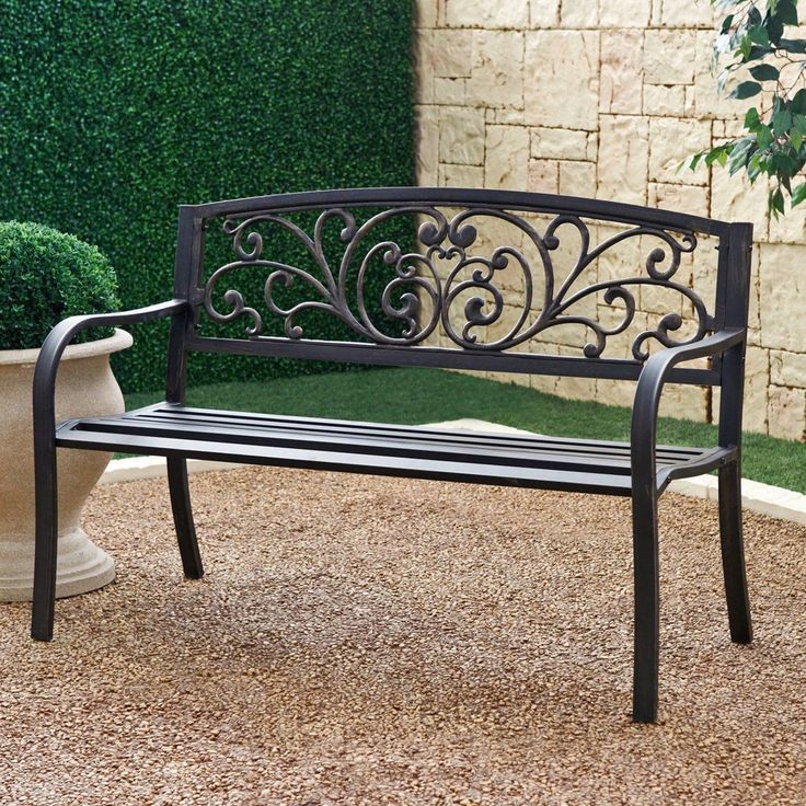 Outdoor Patio Bench Garden Furniture Metal Outdoor Porch Deck Front Back  Yard #Mosaic
