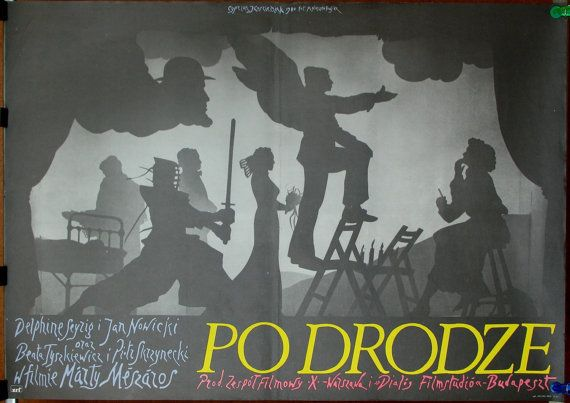 Posters. Hungarian & Polish 1979 film - 'On the Move' by Márta Mészáros. Drama. Romance. Polish oryginal 1980 posters by Cyprian Koscielniak