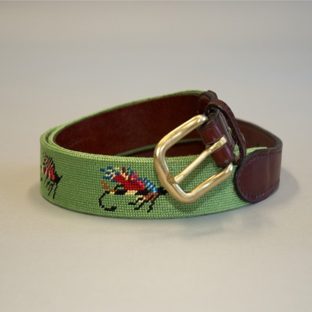 Needlepoint Belt Moss with Fishing Fly