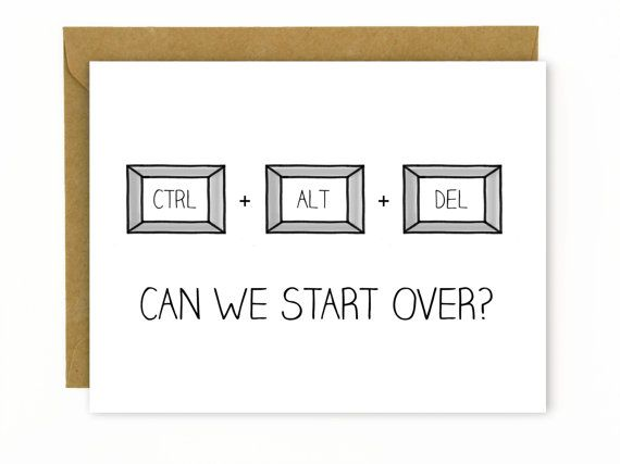 Apology Card / I'm Sorry / Fucked Up / Undo / Nerdy / Can We Start Over? for PC by HellaFresh Designs on Etsy
