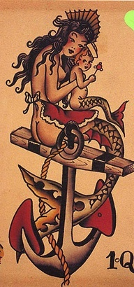 Sailor Jerry's Flash mother baby mermaid tattoo, need to finish my Ode to the sailor...