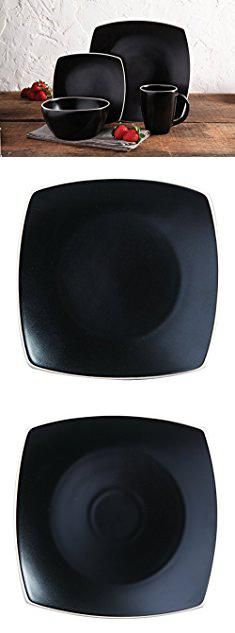 Square Plates And Bowls. Gibson Home Soho Lounge Matte 16 Piece Dinnerware Set, Black.  #square #plates #and #bowls #squareplates #platesand #andbowls