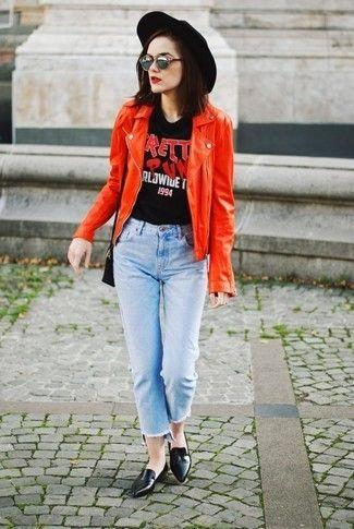 Roja Con Moda Look Motera Camiseta De Chaqueta Cuello Cuero zOSOUZHqwn 9f786e917bb