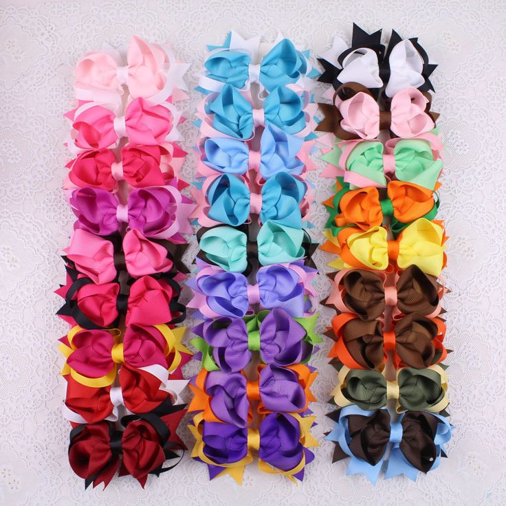 Lot 27pcs 4inch Hair Bow Clips Two Color Mixed Girls Hair Accessories 2784-K #MyOwnUniqueDesign