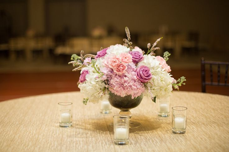 Violet and pink small wedding centerpieces (Shay and Olive)