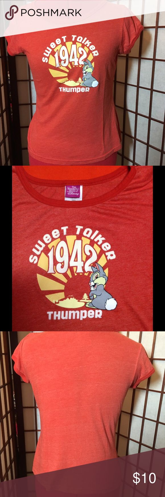 """Graphic Tee """"Sweet Talker 1942 Thumper"""" graphic tee from the mid 90s. Junior size large, fits like a women's small. 50% cotton 50% polyester. Machine washable. Disney Shirts & Tops Tees - Short Sleeve"""