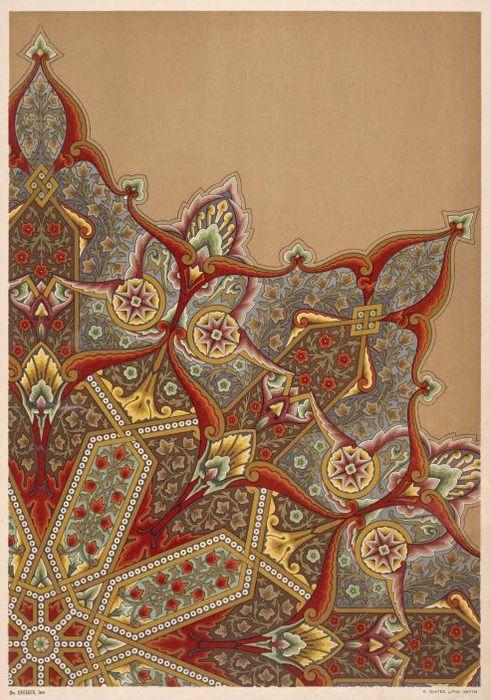 décorateur UK, Christopher Dresser, ornement de style orientaliste, pour un centre de plafond, 1876, Aesthetic Movement