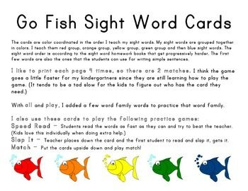 Go fish sight word cards colors plays and in color for Go fish cards