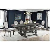 Steele 8PC Dining Set- Table, 6 Round Fabric Chairs & Bench