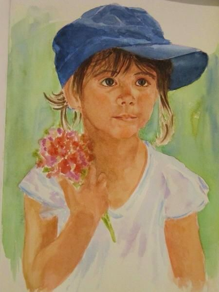 I was touch by the eyes and look of this beautiful little girl #portraits #family #watercolor #restorativeportraits #unique