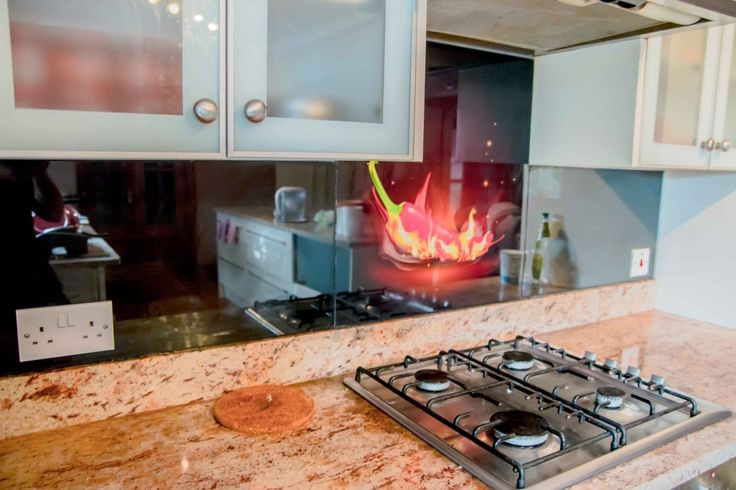 Red Fire Chilli Printed Glass Kitchen Splashback By