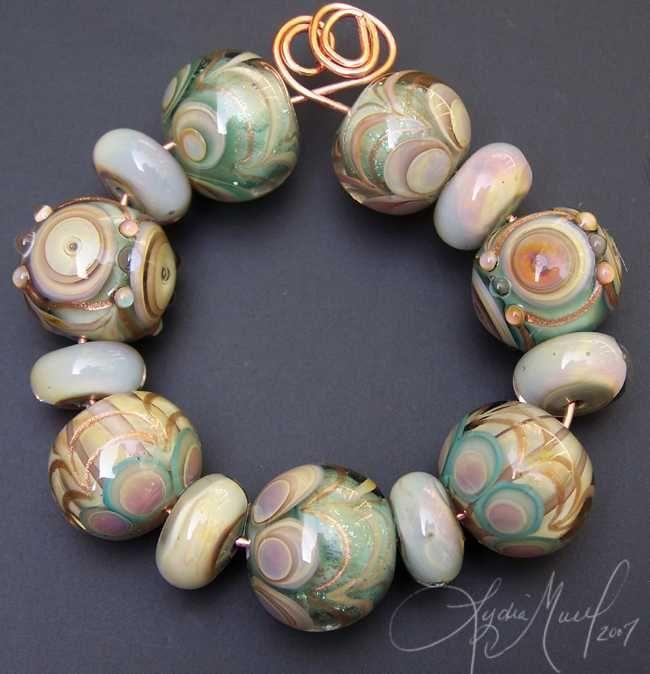 her grace lampwork bead set glass art lydia muell