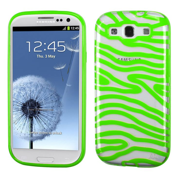 MYBAT Zebra Skin Gummy Case for Samsung Galaxy S3 - Clear/Green
