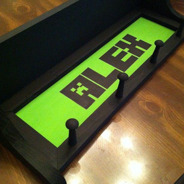 Just finished painting this #minecraft themed shelf for Alex. #craft #creeper…