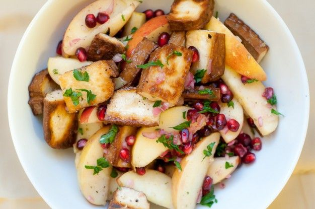 Pan-Seared Pressed Tofu with Apples and Champagne Vinaigrette - Recipe