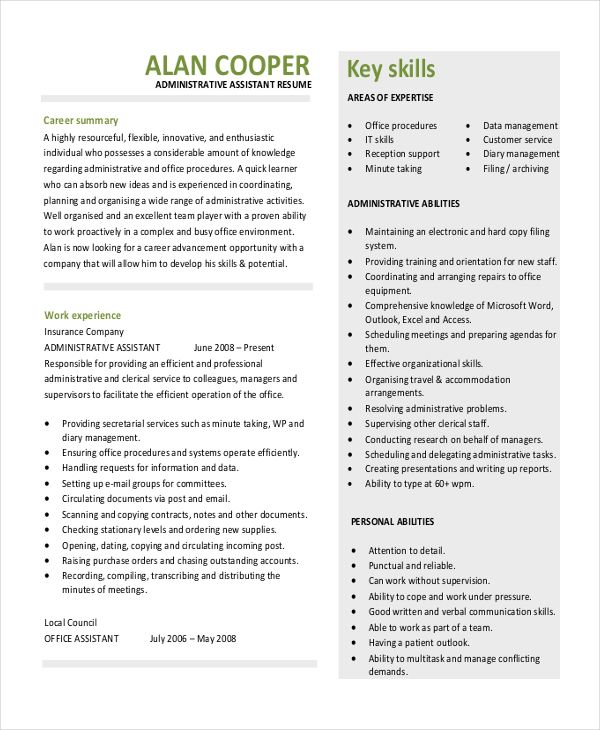 Resume For A Admin - The best estimate professional
