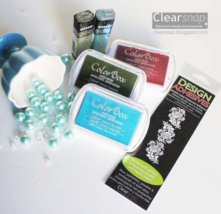 Jean Okimoto's Picks!!! *please do not erase these instructions* Pin this pic to enter to win it--see the Board Description for rules. You must pin from the CLEARSNAP Pin-It to Win-It board so we can track the entries. * NEW Limited Edition Chalk Inkpads Pink Sky, Sea Crystal, Guacamole; Glitter in Peridot and Ocean Spray; French Swirl Design Adhesives.