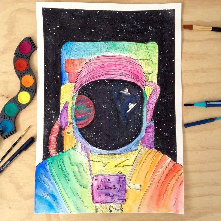 Astronauta en acuarela