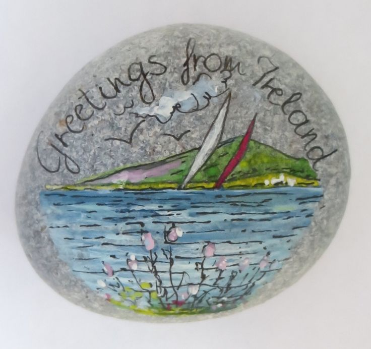 Greetings From Ireland - Pebble Seascape With Wild Flowers(No.35) by PebbleAndMosaic on Etsy