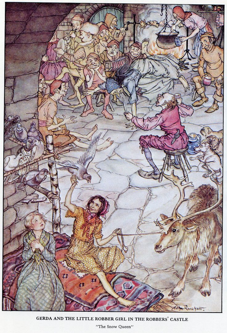 Gerda and the little robber girl in the robbers' castle. From Andersen's fairy tale, The Snow Queen (illust. by Arthur Rackham)