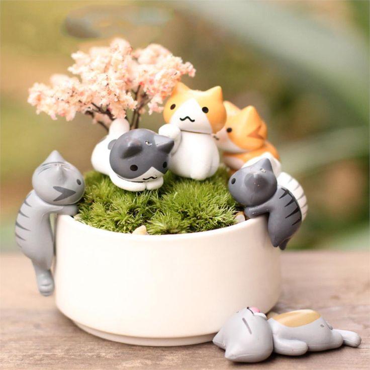 Aliexpress.com: Comprar Mejores ventas de 6 unids/set lindo Lazy Cartoon gatos para Micro paisaje gatito Microlandschaft Pot cultura herramientas de jardín decoraciones de bandejas decorativas regalo fiable proveedores en KUBA