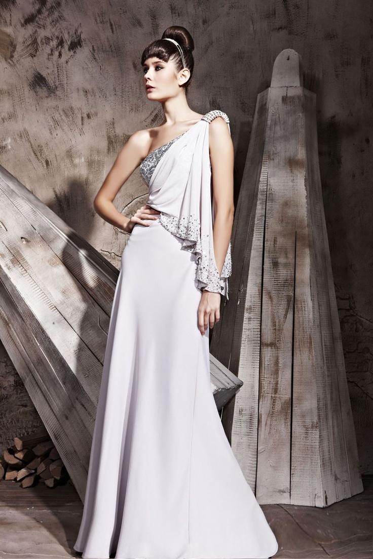 Grey One-shoulder Personality Side Split Design Dress