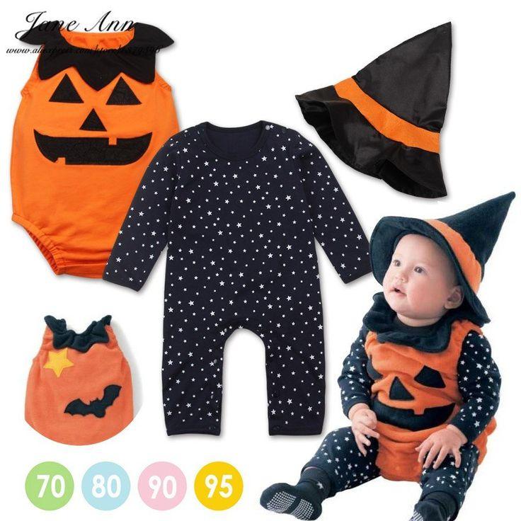 Halloween baby costume pumpkin clothing set 3pcs stars romper+pumpkin vest +wizard hat infant toddler kids boys girls clothes