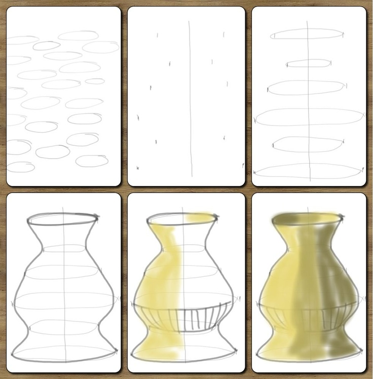 """1. Practice drawing ovals.  2. Draw a median line .  3. Draw small """"help lines"""" equidistant from the median line. Draw ovals (lightly)  that touch each pair of help lines.   4. Connect the points on each side.  5. Use tints and shades in earth tones to create a clay like vessel."""