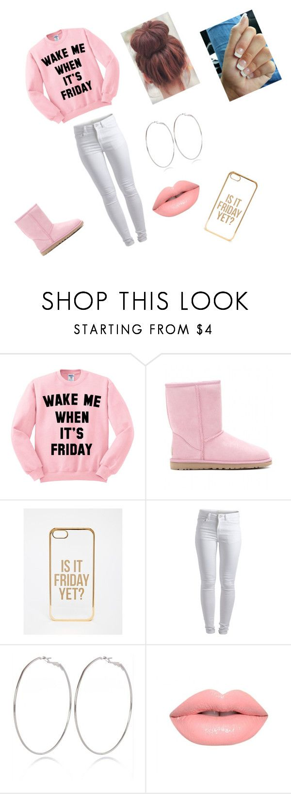 """""""Happy Friday!!!!!!!"""" by mc2016 ❤ liked on Polyvore featuring UGG Australia, ASOS, Pieces, River Island and Lime Crime"""