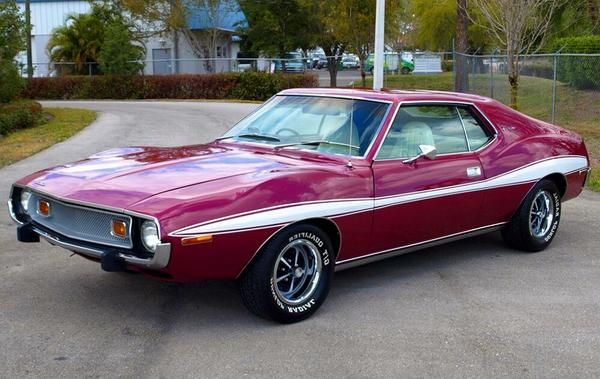 "purple and white classic 60s ahead of its time AMC ""Javelin"""