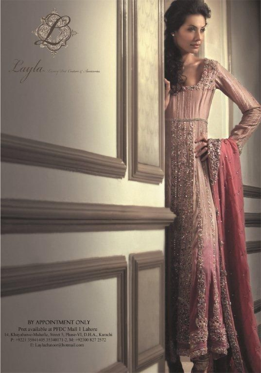 Different shades of dull pink. Beautiful neckline, too.    Layla Chatoor (Karachi).