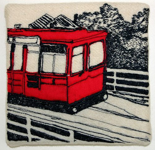 freehand machine embroidery cable car wellington by Katherine Bertram