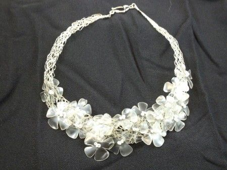 Recycled plastic bottles necklace  how cute! can someone show me how to make these!