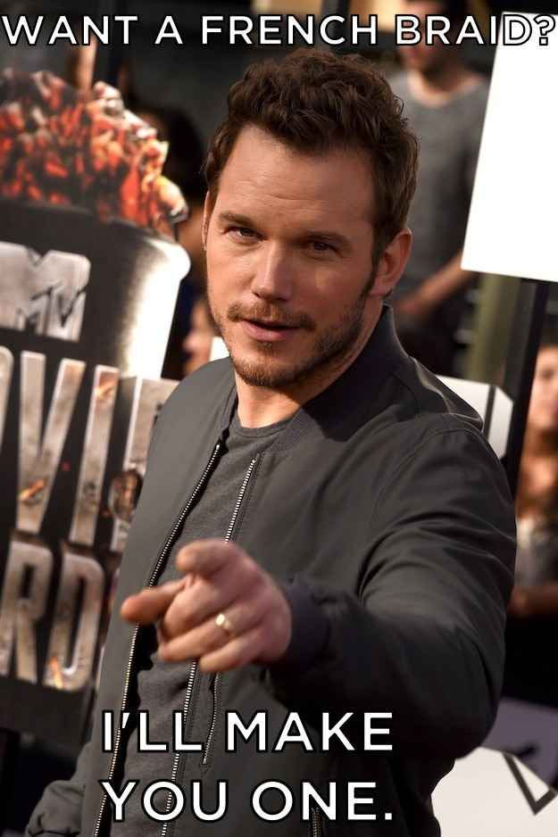 For those of us who have struggled with making french braids our entire lives, meet your new hero. | Chris Pratt Knows How To French Braid Hair