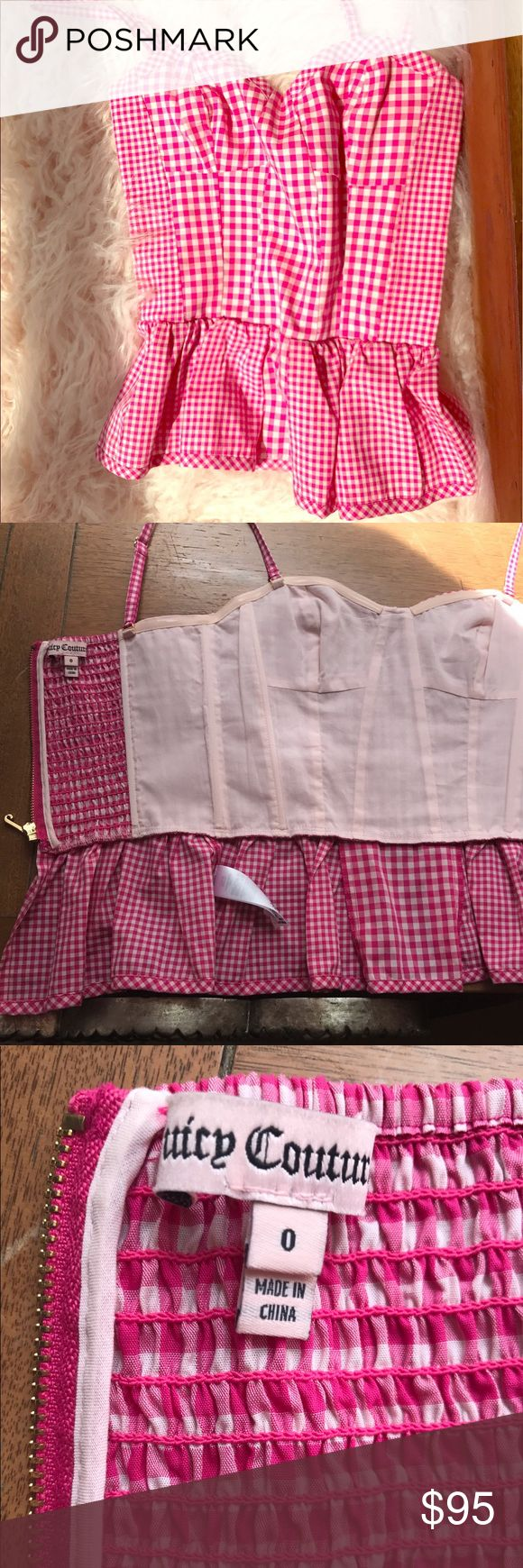 Juicy Couture Pink Gingham Peplum Bustier Unworn, retro-inspired bustier top with charming silhouette and vibrant pink mixed gingham print. Convertible straps, sweetheart neckline and exposed gold full opening back zip. Smocked back and flexible boning bodice structure. Vented back hem and partial lining. Plain weave fabric (Shell: 96% cotton/4% elastane. Lining: 100% cotton) Juicy Couture Tops Crop Tops