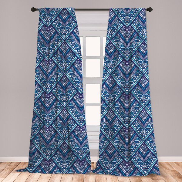 Geometric Room Darkening Rod Pocket Curtain Panels In 2020 Rod Pocket Curtain Panels Panel Curtains Rod Pocket Curtains
