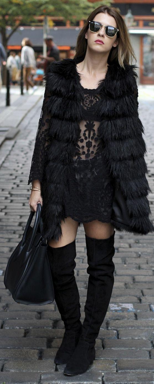 Black Long Line Faux Fur Vest by Czech Chicks | style my ...