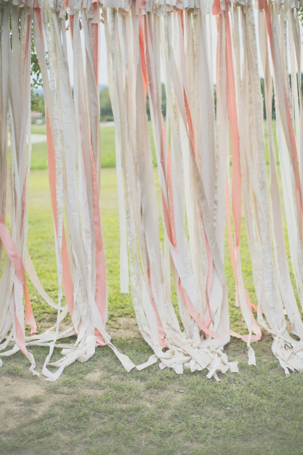 a ribbon wall crafted for the outdoor ceremony  Photography By / annapociaskphotography.com, Event Design By / melizabethevents.com