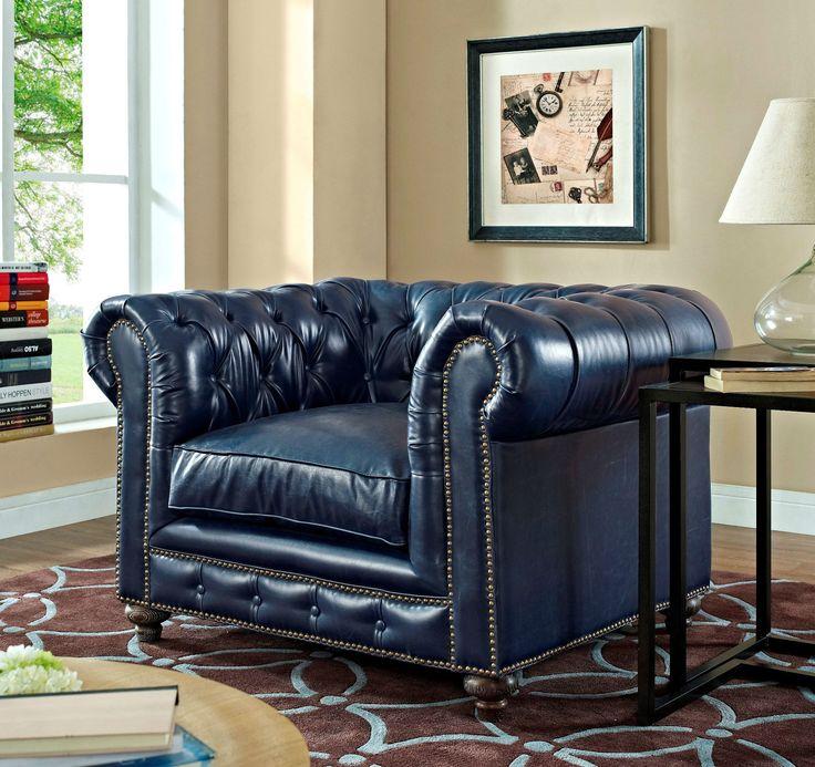 Durango Rustic Blue Leather Living Room Set Part 39